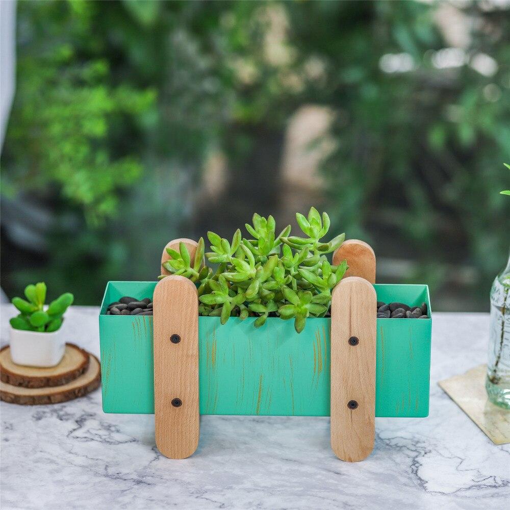 Competent Moderne Groene Metalen Planter Desktop Organizer Box Houten Benen Stand Patio Tuin Rechthoek Vierkante Planten Bloempot Geschenken Planter Druppel Droog