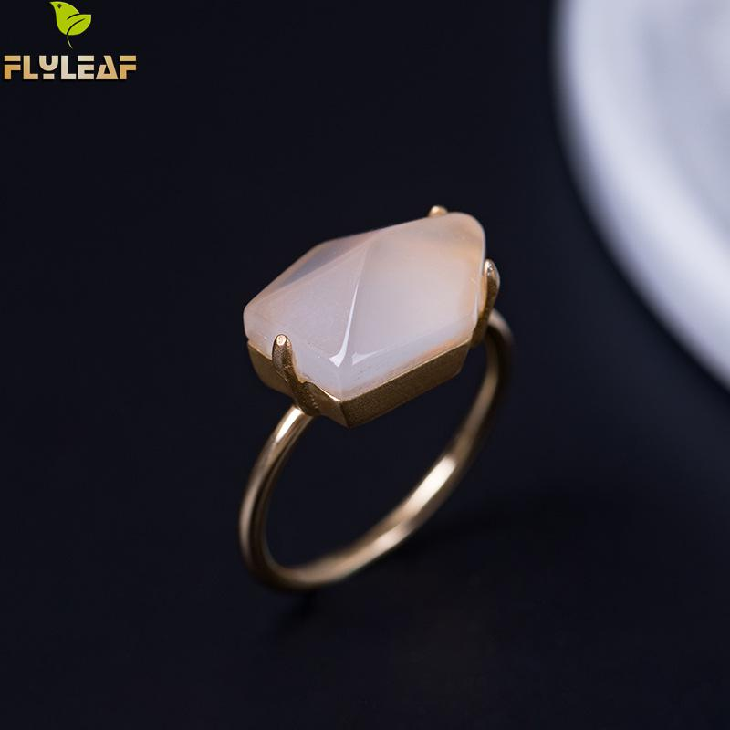 купить Flyleaf Natural Stone Gold Geometric Multifaceted Open Rings For Women Original 100% 925 Sterling Silver Fashion Jewellery недорого
