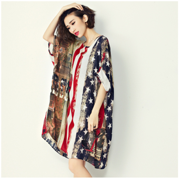 d9dc9ddc801e3 2016 Maternity Plus Size Shirt Dresses European Style American Flag Print Chiffon  Women Loose Shirt Dress for Pregnant Women-in Dresses from Mother & Kids ...