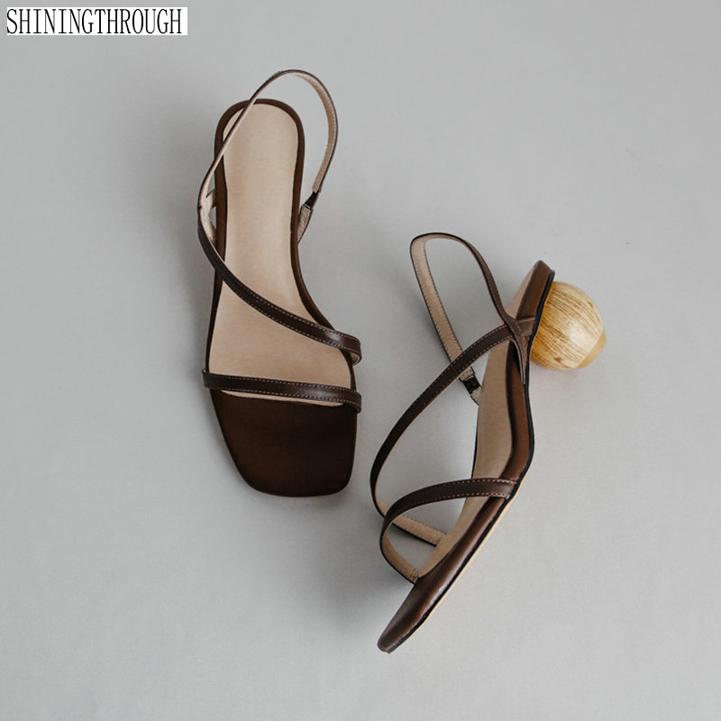 Sexy round ball high heel Sandals Women Black open toe Strange Narrow Band Gladiator Sandals Summer