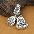 Handmade 925 Silver Tibetan Laughing Buddha Pendant vintage sterling silver Happy Buddha Amulet Pendant