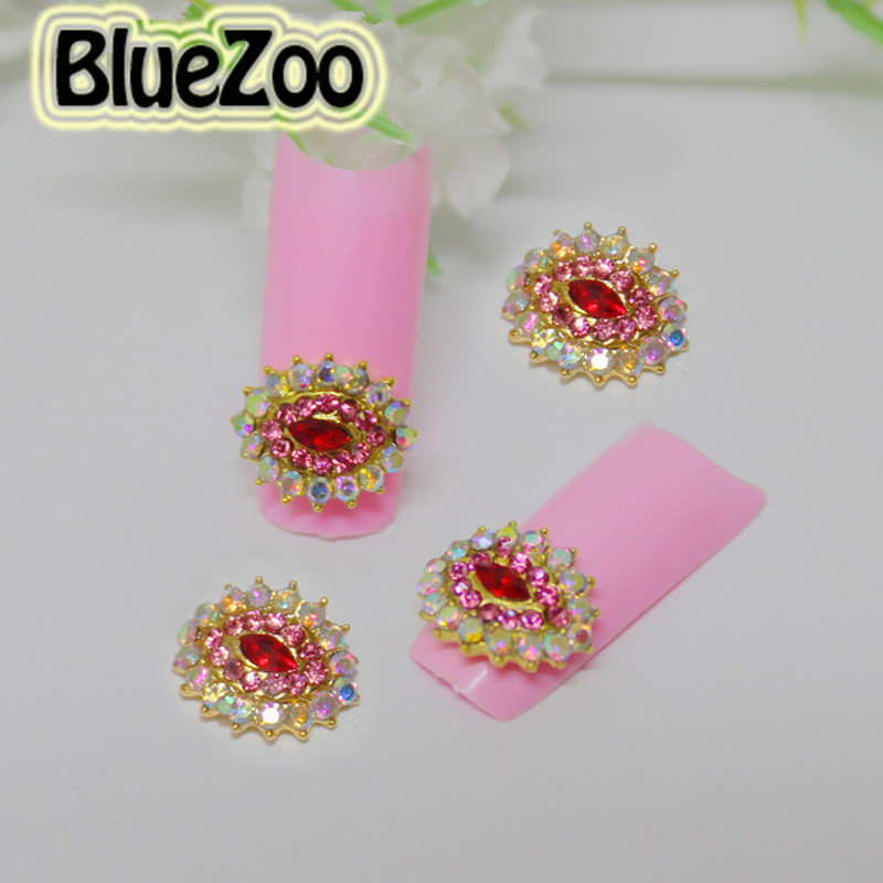 Bluezoo 10pcs pack ab oval pink art nail supplies for 3d nail art decoration