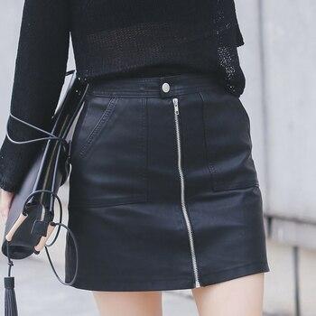2019 Autumn Winter Women Skirt PU Leather Sexy Mini Skirt With Pockets Zipper A-line Package Hip High Waist Women Clothing 1