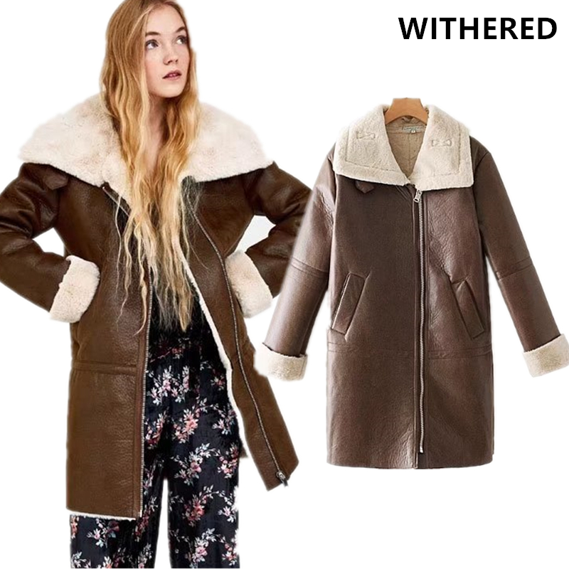 Withered winter leather jacket long coat women england style flocking thick warm turtleneck long leather jacket women plus size