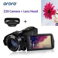 ORDRO HDV Z20 P 1080 P 8MP Full HD 3,0 сенсорный экран ЖК дисплей цифровой Камера сенсор 16x Аудио Видео W/Mic + бленда
