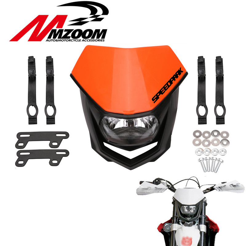 Motorcycle White Black orange <font><b>Universal</b></font> Head Lamp Lighting Enduro Dual Sport <font><b>Dirt</b></font> <font><b>Bike</b></font> H4 <font><b>Headlight</b></font> Fairing For Yamaha YZ YZF WR image