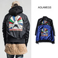 Aolamegs Mens Bomber Jacket Coat Shark Pattern Embroidery Thin Outwear Jackets 2016 Military Style Baseball Clothing Black Blue