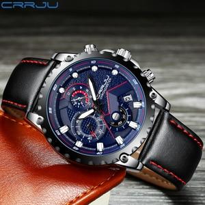 Image 4 - New Fashion Sports Quartz Men Watches CRRJU Relogio Masculino Clock Mens Top Brand Luxury Military Leather Waterproof Watch men