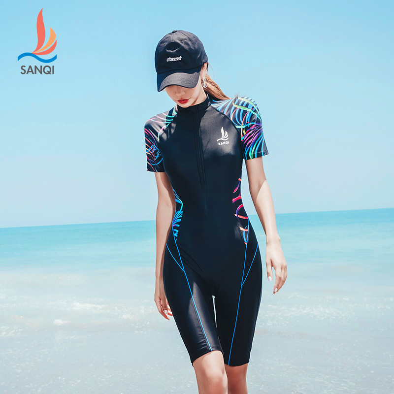 SANQi  Swimsuit Short-sleeved Conjoined Large Size Slimming Belly Sexy Small Chest Gathered Sports Female Swimwear Swimming Suit