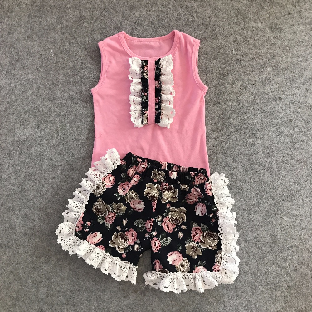 new arrival summer baby girls boutique clothes pink floral striped shorts sleeveless ruffles cotton ruffles outfits kids wear 2016 summer baby child girls outfits ruffles shorts white striped watermelon boutique ruffles clothes kids matching headband set
