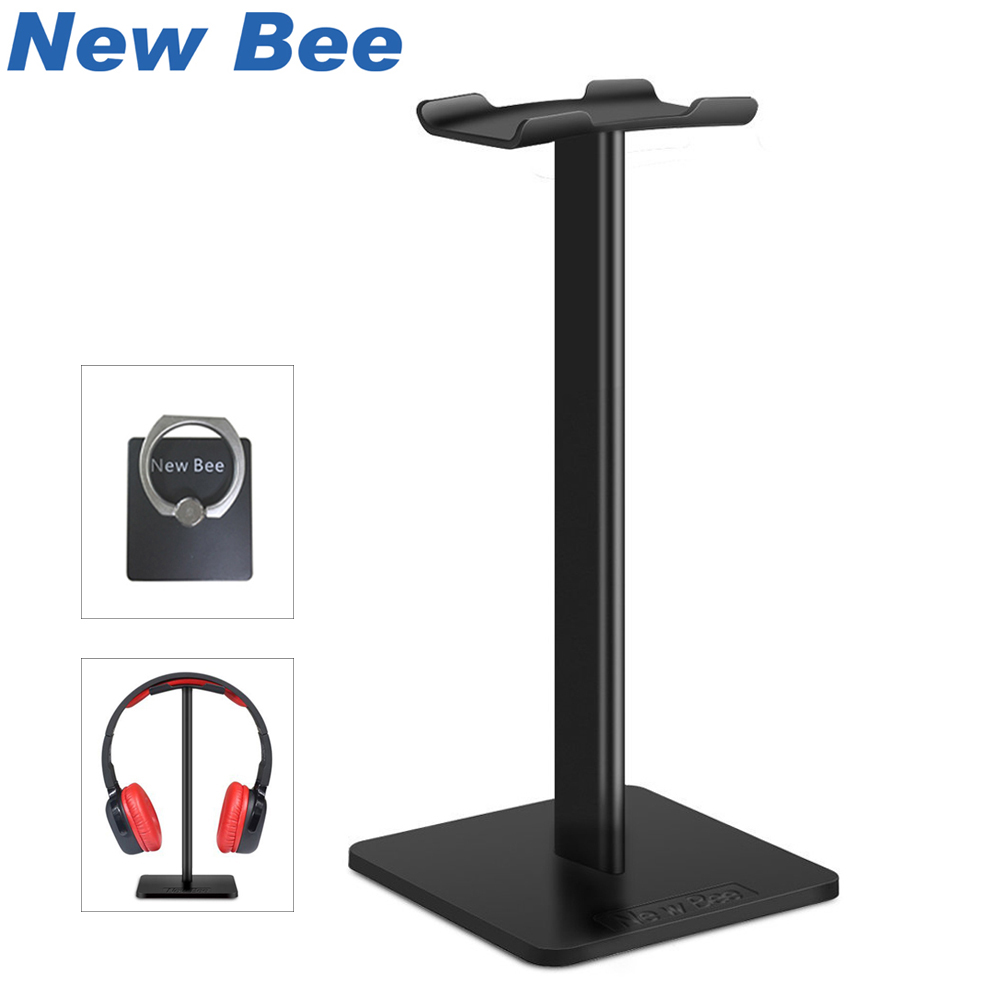 New Bee Fashion Display Headphone Stand Headset Holder Earphone Bracket Earbud Hanger Metal and Soft TUP for Headphone Black
