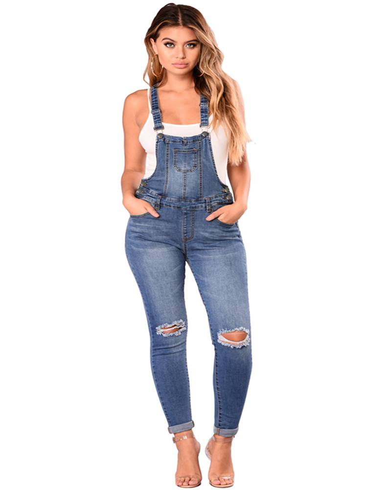 New Sping Autumn Casual Jumpsuit Women Baggy Denim Jeans Jumpsuits Bib Full Length Pinafore Dungaree Overall Pants Trousers