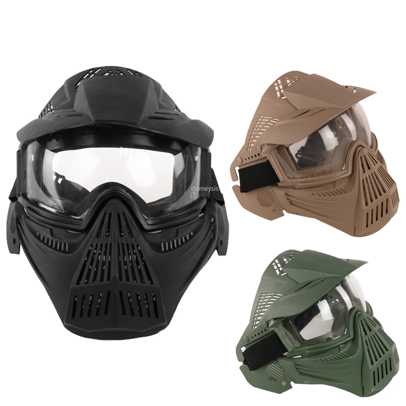 Full Face Military Tactical Breathable Mask Transformers Leader Mask Lens Vision CS Hunting Airsoft Masks Paintball Accessories