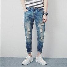 2015 Autumn Men Washed Jeans Trousers Slim Hole Ankle Pants Denim Pant for Men's Male Tide Plus Size 28-33