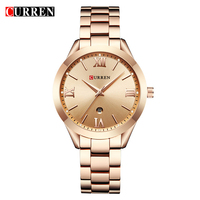 CURREN 9007 Top Luxury Brand Women Quartz Watch Ladies Wristwatches Relogio Feminino Rose Gold