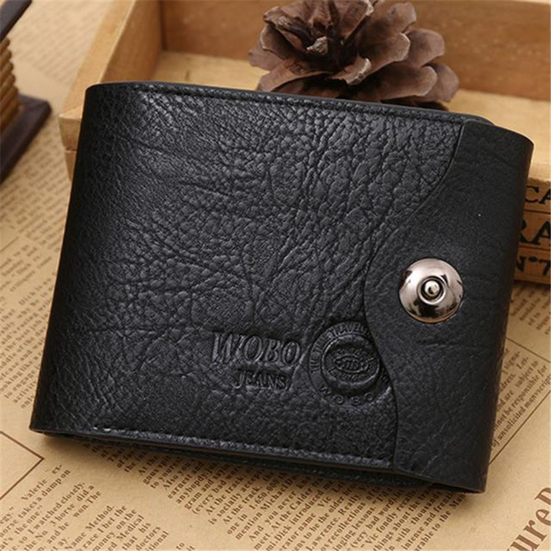 2018 Fashion Mens Luxury Wallet Men Button Leather Card Cash Brown Wallets Receipt Card Holder Purse carteras mujer wholesale