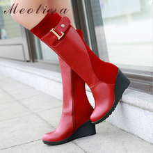 Meotina Women Knee High Boots Winter Platform Boots Wedge Heels Fur Buckle Snow Boots Round Toe Female Shoes Red Big Size 11 46