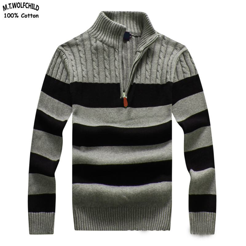 High Quality 2018 New Mens Long Sleeve Stand-collar Striped Knitted Sweaters 100% Cotton Mens Thick Sweaters Fashion Mens Tops