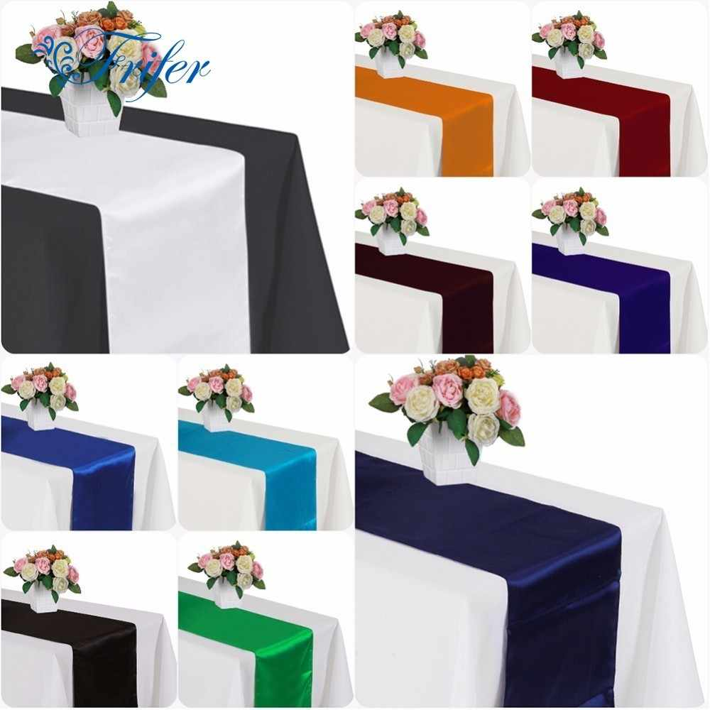 Hot Sale Satin Table Runner Wedding Party Reception Banquet Colorful Home Textile Decorations Elegant Home Decor Table Runner