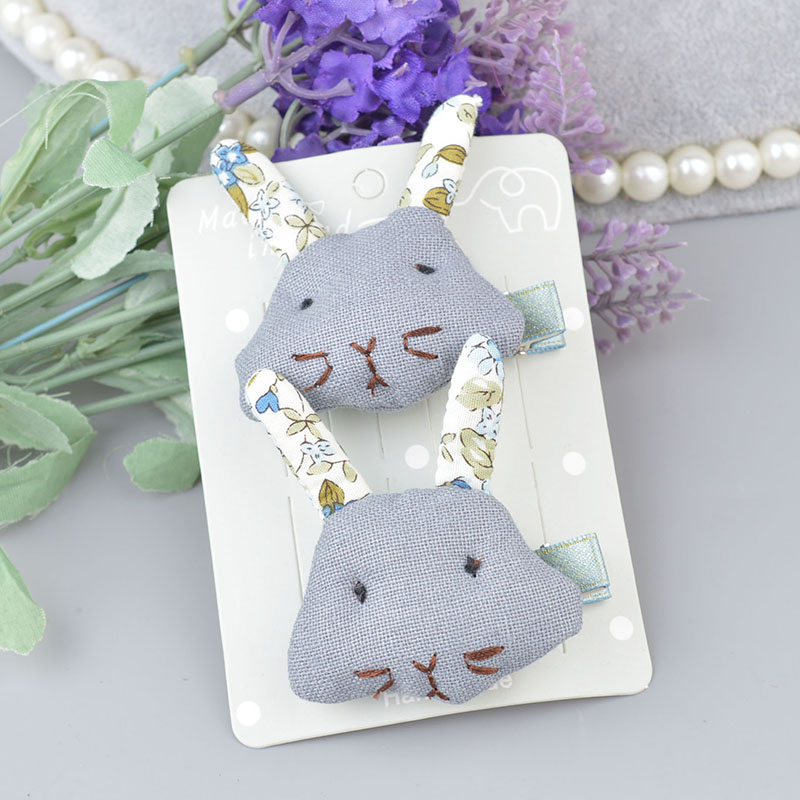 2 pieces Children 39 s Fashion Novelty Hair Accessories Lace Cotton Rabbit Ball Hairpin Cut Carton Barrettes Flowers Hair Clips A5 in Hair Accessories from Mother amp Kids