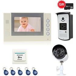 JEX новый 7 дюймов ЖК-дисплей видео дверь домофон комплект Запись видео монитор + доступ RFID Управление ИК Камера + CCTV Камера