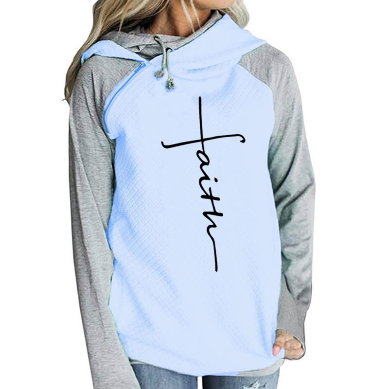 2018 Autumn Hoodies Sweatshirts Women Long Sleeve Faith Embroidery Warm Hooded Pullover Tops Plus Size Casual