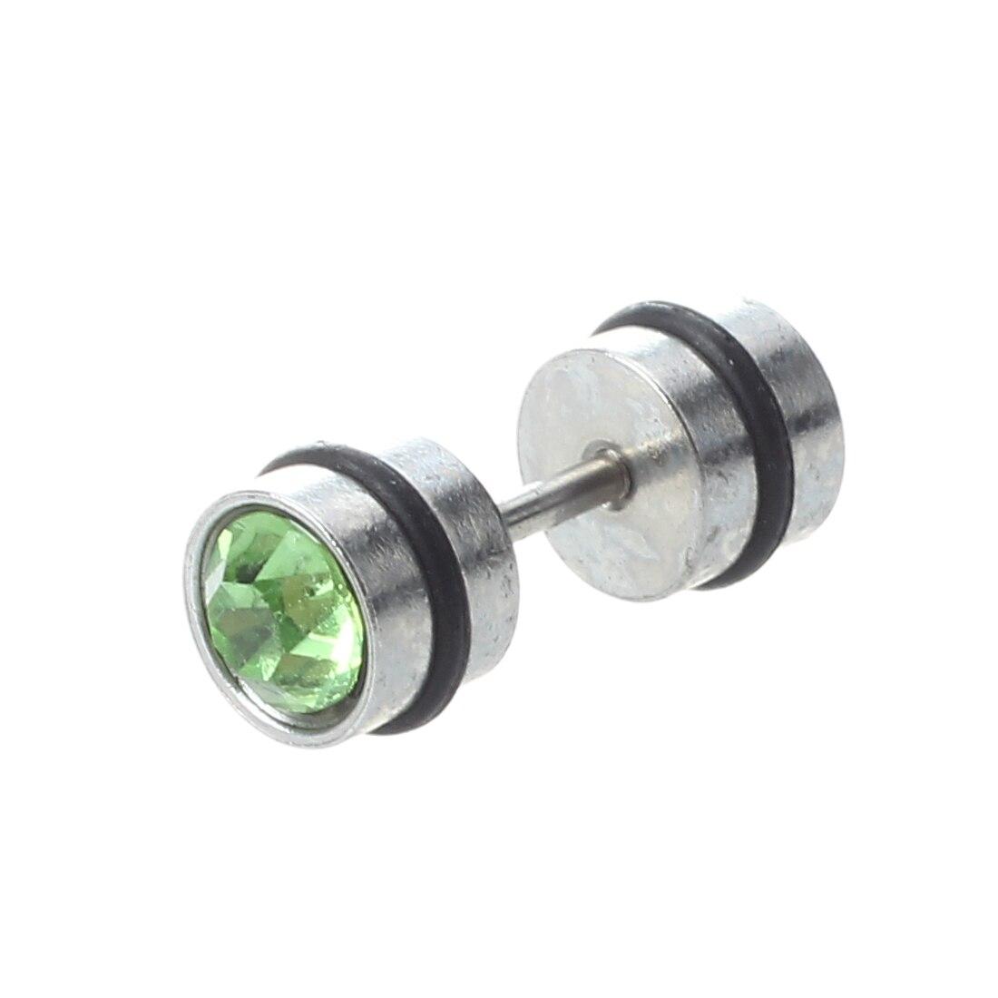 Mens Earring Ear Stud Stainless Steel Crystal Fake Plug