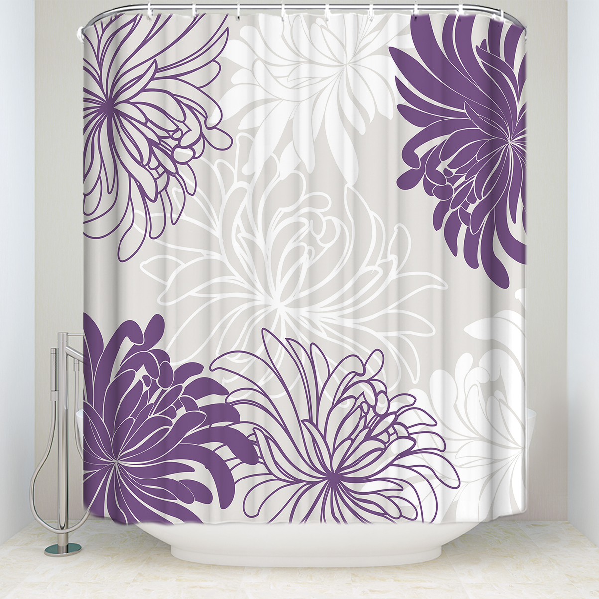 Lavender High Heel Necklace Waterproof Fabric Shower Curtain Bath Accessory Sets