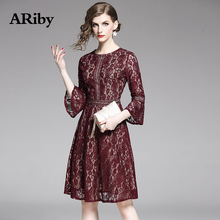 Women Dress 2019 Summer Fashion Office Lady Vintage Dress Solid Lace Hollow Out Three Quarter Flare Sleeves O-Neck A-Line Dress недорого
