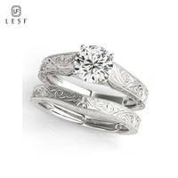 LESF 1 Carat Round Sona Genuine 925 Sterling Silver Wedding Ring Sets Engagement Band Vintage Design Jewelry For Women