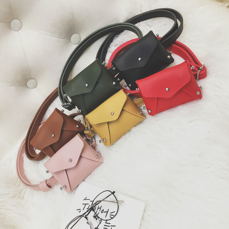 New Children Waist Fanny Bag Packs Colorful Solid PU Leather Casual Kid Baby Girl Boy Fanny Money Waist Bags Belt Pack