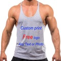 Custom Logo Tank top Men Stringer Bodybuilding Tank Top Solid Color shirt Singlet Y Back Muscle Racer back Free shipping