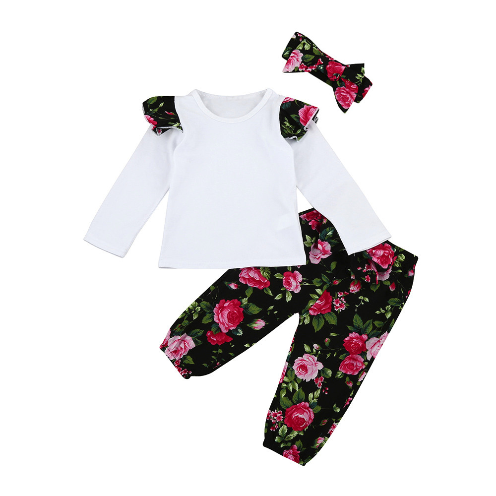 3PCS Set Toddler Infant Baby Girls Floral Clothes Set Tops Pants Headband Outfits roupas infantil baby girl clothes