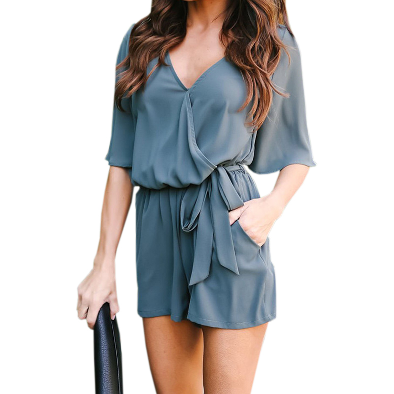 2018 Women Chiffon Playsuit Sexy V-Neck Casual Ruffles Romper Summer Thin Jumpsuits Beac ...