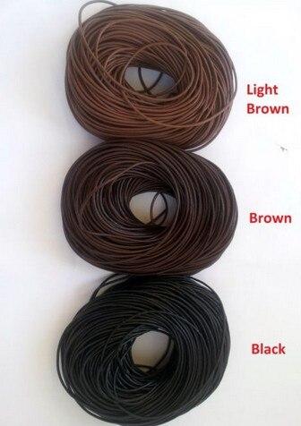 1.5mm mieszane czarny brązowy ciemny brązowy każdy kolor 120 stoczni prawdziwy okrągły 100% krowa prawdziwe skórzane przewód ciąg dla bransoletka naszyjnik w Wykończenia i elementy biżuterii od Biżuteria i akcesoria na  Grupa 1