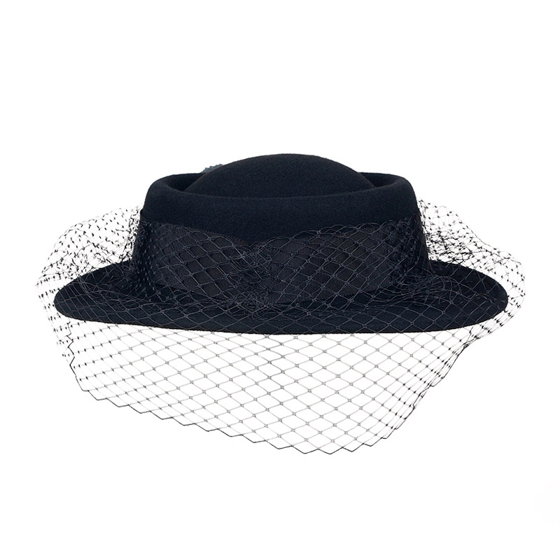 7c482b87 FS Ladies Winter Black Wool Felt Hats With Veils For Women Fascinator Wide  Flat Brim Church Party Vintage Cloche Hat-in Fedoras from Women's Clothing  ...