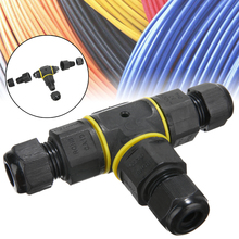 New IP68 20A 450V Waterproof Cable Connector T Shape 3 Way Splitter Electrical Outdoor Power Light and Lantern Connection