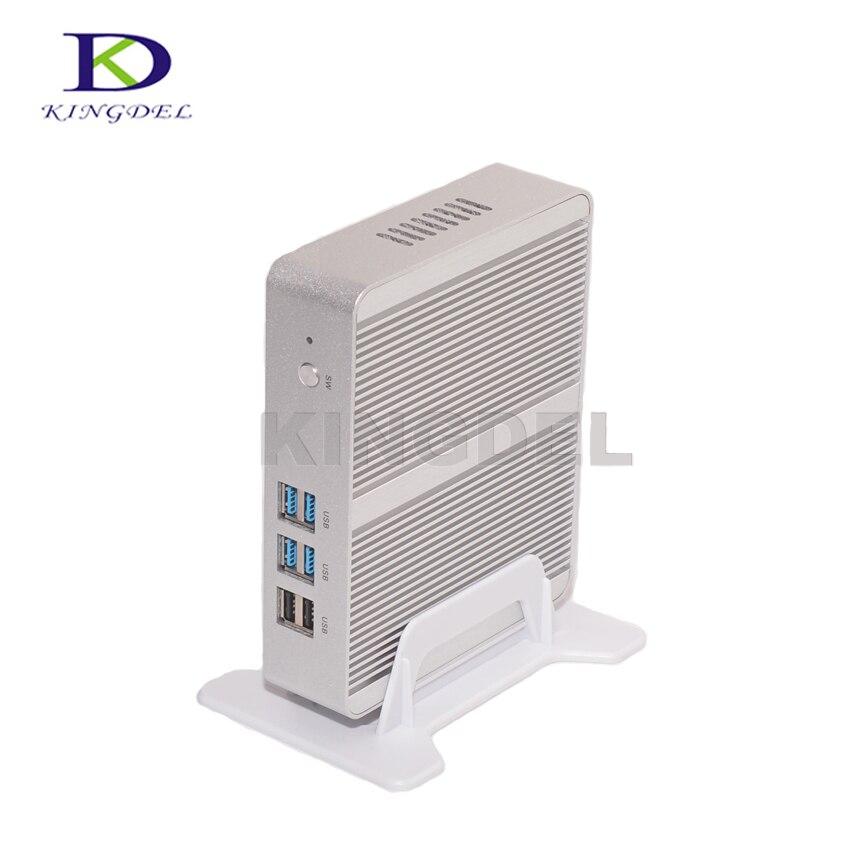Без вентилятора Бизнес Мини-ПК Intel Celeron n3150 4 ядра HTPC 8 ГБ Оперативная память 128 ГБ SSD Wi-Fi Dual HDMI Dual LAN Оконные рамы 10 Pro