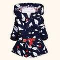 BibiCola весна осень новорожденных девочек/мальчиков ветрозащитный траншеи верхняя одежда дети сгущает теплый Капюшоном пальто дети куртка 2-8 Y