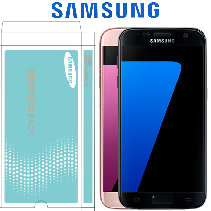 ORIGINAL 5 1 SUPER AMOLED Service Pack LCD with Frame for SAMSUNG Galaxy S7 Flat Display