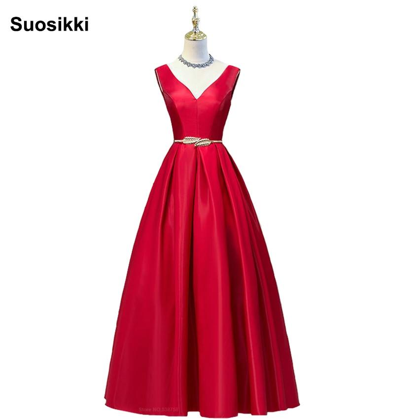 Prom-Dress Robe-De-Soiree Formal Elegant Evening Long Double-Shoulder V-Neck Stain Red