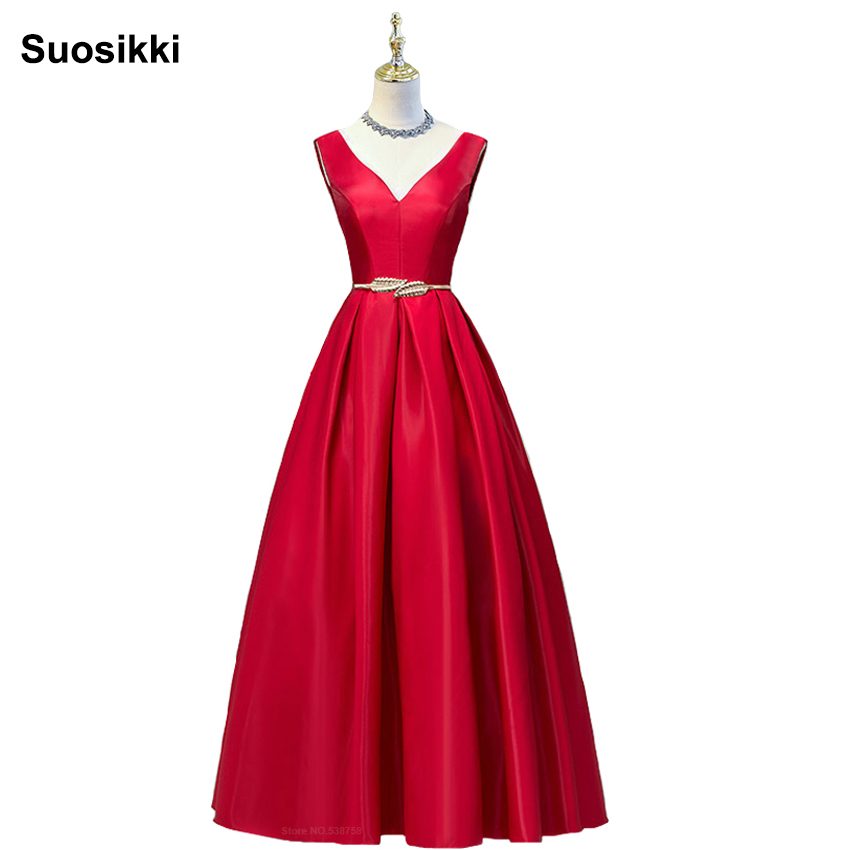 V-neck Double shoulder prom dress long a-line red elegant stain formal evening party dresses robe de soiree free shipping