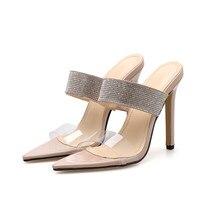 a6164d7b5 Cristal zapatillas de Mujer Sandalias de verano Zapatos de tacón alto  zapatos de sandalias romanas señoras