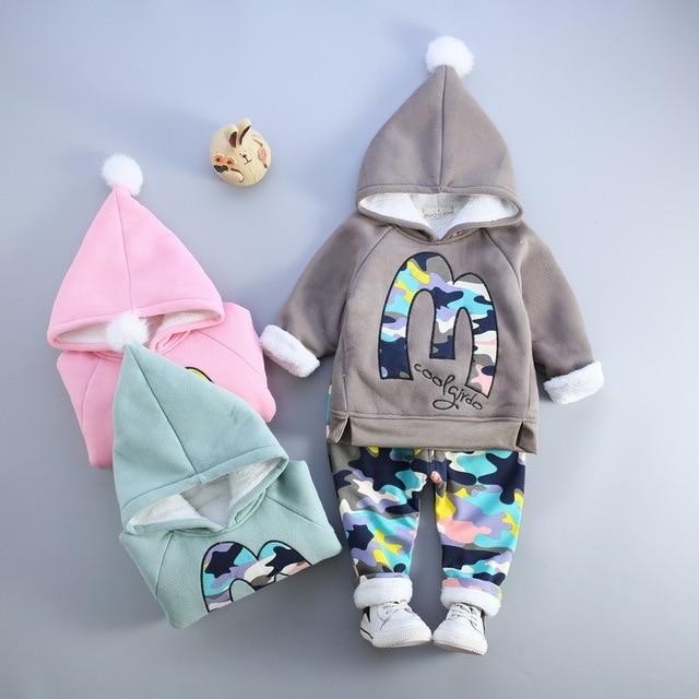 2017 winter clothes camouflage for kids boys clothing set warm clothes set girls hood velvet camouflage coat pants kids costume