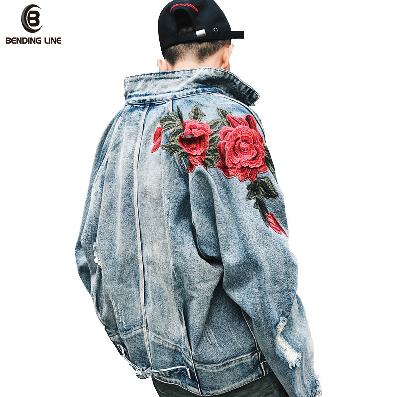 Jeans Jacket And Coats Men Autumn Embroidery Broken Holes Retro Denim jacket Male Fashion Cotton Outwear US Size