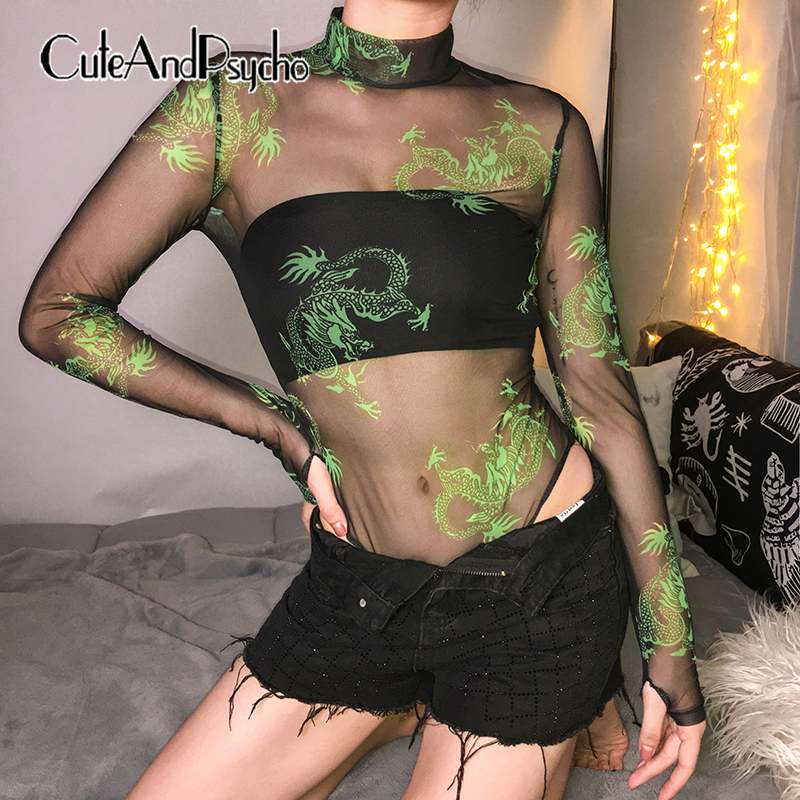 2019 Mesh Neon Green Dragon Print Bodycon Bodysuits Transparent See Through Women Rompers Long Sleeves Jumpsuits Cuteandpsycho