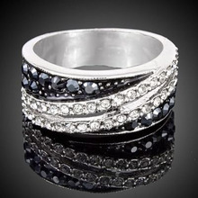 Simple Color Rings Fashion Punk Style Black And White Genuine Austrian Crystal Trendy Pave Setting Rings Jewelry