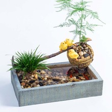 Hydroponic Fairy Farm 3 Chicken Playing on Hoe and Basket Fairy Garden Little Pond Planter Flower Pot for Succulent Decoration