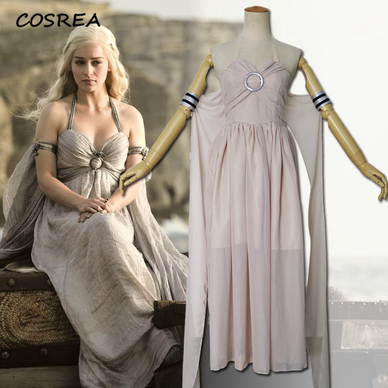 COSREA Game of Thrones Season 1 Daenerys Targaryen Cosplay Costume Grey Long Dress Costumes Halloween Party For Adult Woman