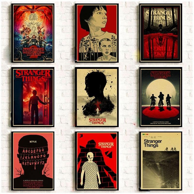 Fremden Dinge 2 Retro Poster Wand Aufkleber Hause Dekoration TV Serie Drucke hause kunst malerei